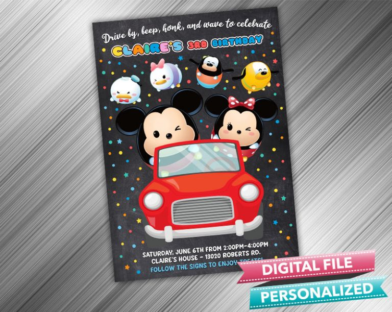 Drive by Tsum Tsum Invitation Birthday Parade Drive Through Birthday Party Quarantine Birthday Social Distancing Party Invitation