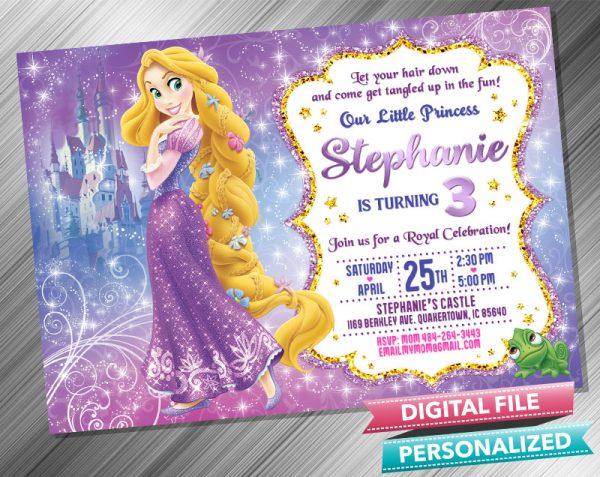 Princess Rapunzel Birthday Invitation