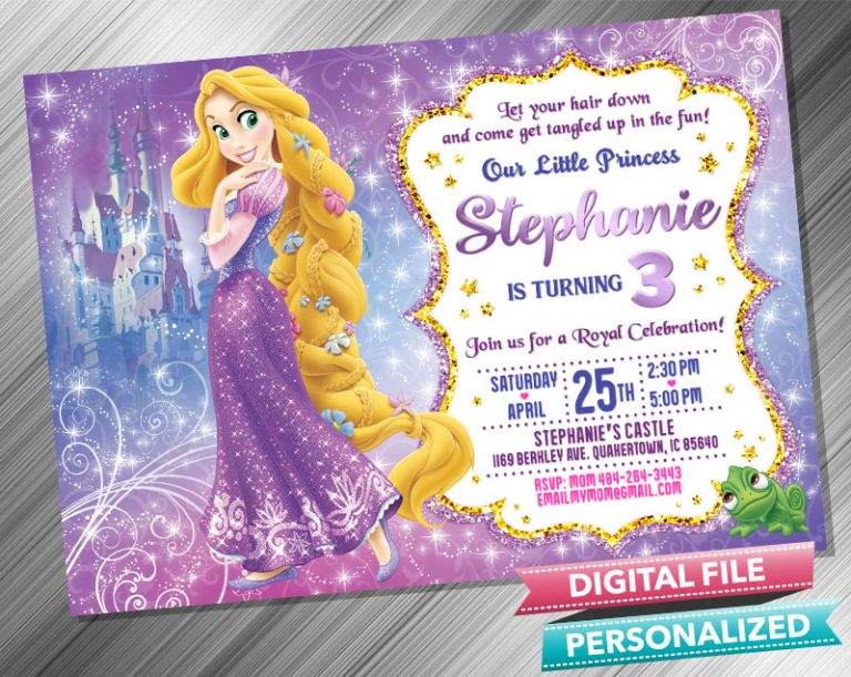 Princess Rapunzel Birthday Invitation