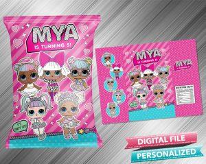 LOL Surprise Doll Chip Bag Birthday Printable